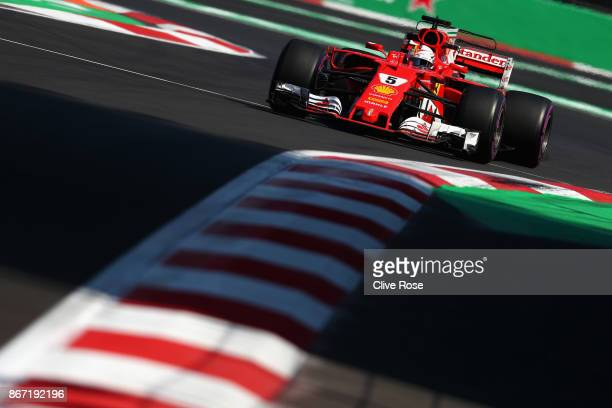 Sebastian Vettel of Germany driving the Scuderia Ferrari SF70H on track during practice for the Formula One Grand Prix of Mexico at Autodromo...