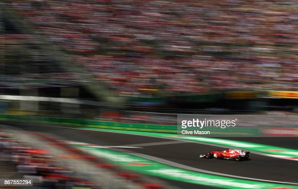 Sebastian Vettel of Germany driving the Scuderia Ferrari SF70H on track during qualifying for the Formula One Grand Prix of Mexico at Autodromo...