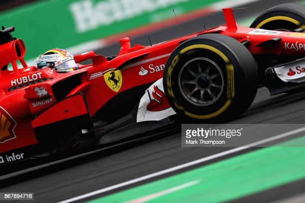 Sebastian Vettel of Germany driving the Scuderia Ferrari SF70H on track during the Formula One Grand Prix of Mexico at Autodromo Hermanos Rodriguez...