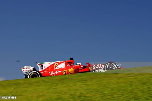 Sebastian Vettel of Germany driving the Scuderia Ferrari SF70H on track during practice for the Formula One Grand Prix of Brazil at Autodromo Jose...