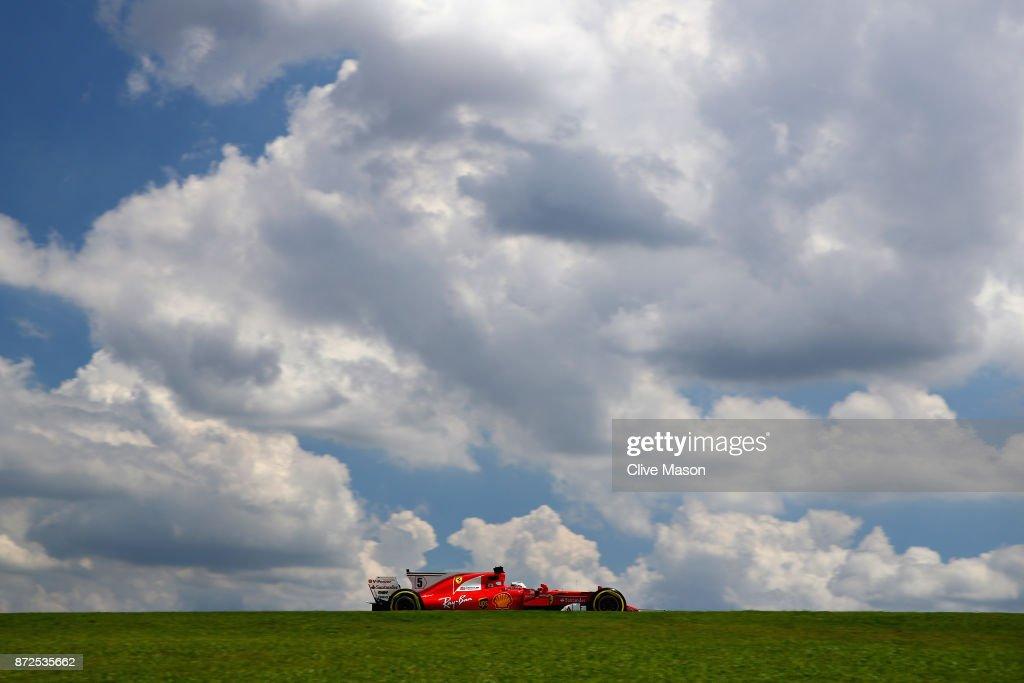 Sebastian Vettel of Germany driving the (5) Scuderia Ferrari SF70H on track during practice for the Formula One Grand Prix of Brazil at Autodromo Jose Carlos Pace on November 10, 2017 in Sao Paulo, Brazil.