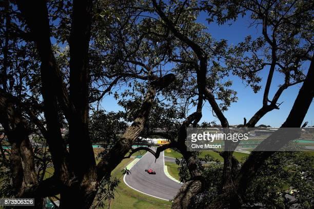 Sebastian Vettel of Germany driving the Scuderia Ferrari SF70H on track during the Formula One Grand Prix of Brazil at Autodromo Jose Carlos Pace on...