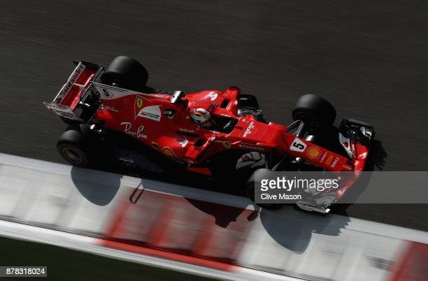 Sebastian Vettel of Germany driving the Scuderia Ferrari SF70H on track during practice for the Abu Dhabi Formula One Grand Prix at Yas Marina...