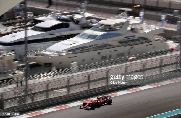 Sebastian Vettel of Germany driving the Scuderia Ferrari SF70H on track during practice for the Abu Dhabi Formula One Grand Prix at Yas Marina...