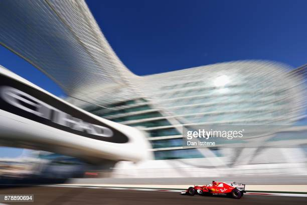 Sebastian Vettel of Germany driving the Scuderia Ferrari SF70H on track during final practice for the Abu Dhabi Formula One Grand Prix at Yas Marina...