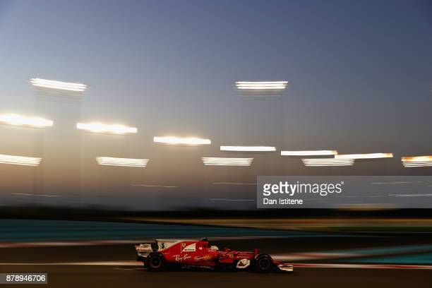 Sebastian Vettel of Germany driving the Scuderia Ferrari SF70H on track during qualifying for the Abu Dhabi Formula One Grand Prix at Yas Marina...