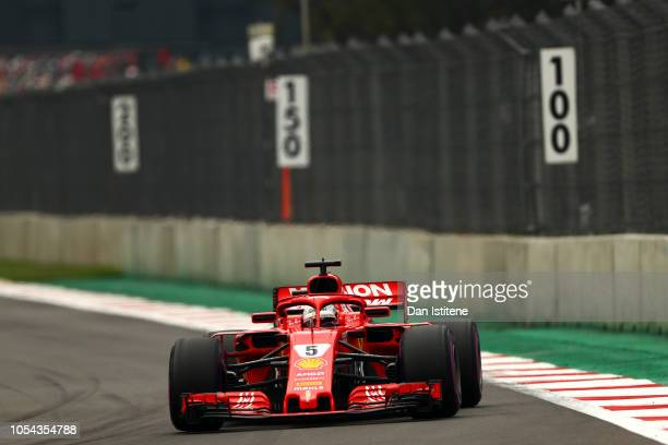 Sebastian Vettel of Germany driving the Scuderia Ferrari SF71H during qualifying for the Formula One Grand Prix of Mexico at Autodromo Hermanos...