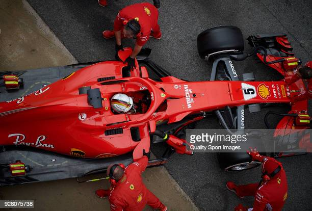 Sebastian Vettel of Germany driving the Scuderia Ferrari SF71H during day four of F1 Winter Testing at Circuit de Catalunya on March 1, 2018 in...