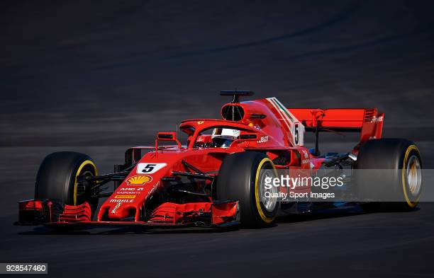 Sebastian Vettel of Germany driving the Scuderia Ferrari SF71H during day two of F1 Winter Testing at Circuit de Catalunya on March 7 2018 in...