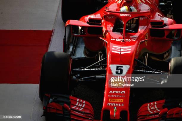 Sebastian Vettel of Germany driving the Scuderia Ferrari SF71H leaves the pitlane during final practice for the Abu Dhabi Formula One Grand Prix at...