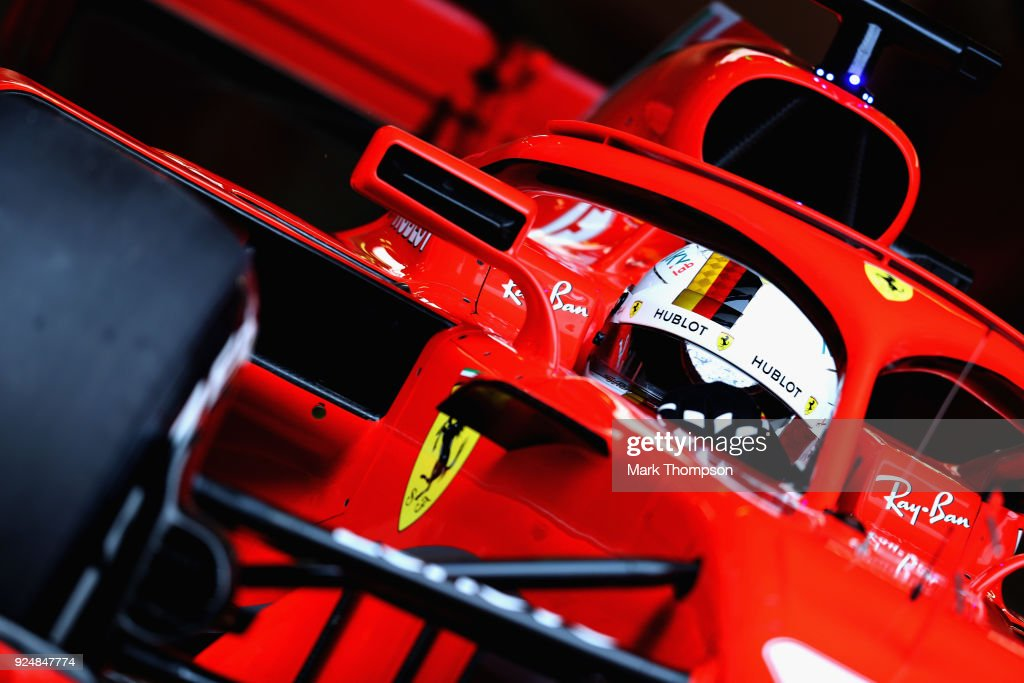 Sebastian Vettel of Germany driving the (5) Scuderia Ferrari SF71H leaves the garage during day two of F1 Winter Testing at Circuit de Catalunya on February 27, 2018 in Montmelo, Spain.