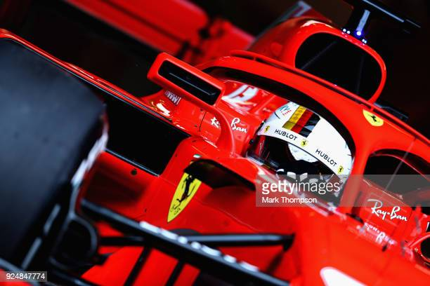 Sebastian Vettel of Germany driving the Scuderia Ferrari SF71H leaves the garage during day two of F1 Winter Testing at Circuit de Catalunya on...