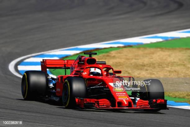 Sebastian Vettel of Germany driving the Scuderia Ferrari SF71H on track during practice for the Formula One Grand Prix of Germany at Hockenheimring...