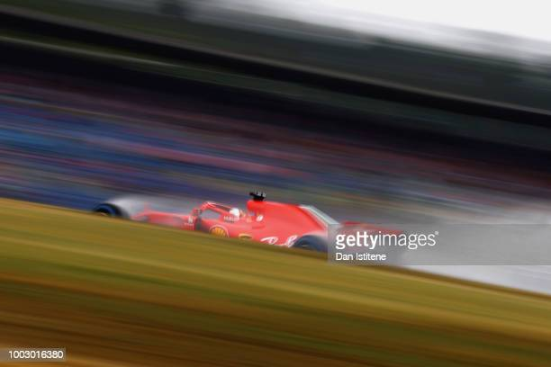 Sebastian Vettel of Germany driving the Scuderia Ferrari SF71H on track during final practice for the Formula One Grand Prix of Germany at...