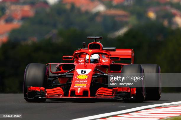 Sebastian Vettel of Germany driving the Scuderia Ferrari SF71H on track during practice for the Formula One Grand Prix of Hungary at Hungaroring on...