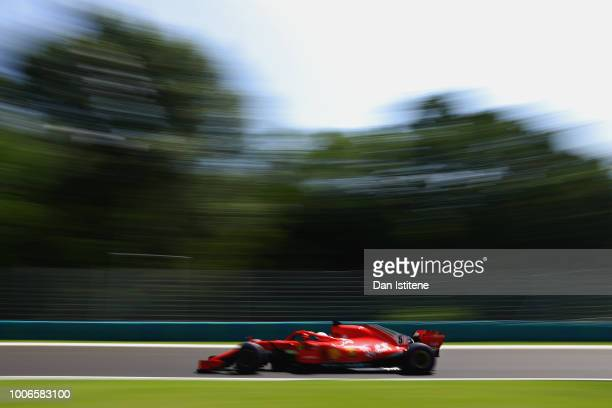Sebastian Vettel of Germany driving the Scuderia Ferrari SF71H on track during final practice for the Formula One Grand Prix of Hungary at...