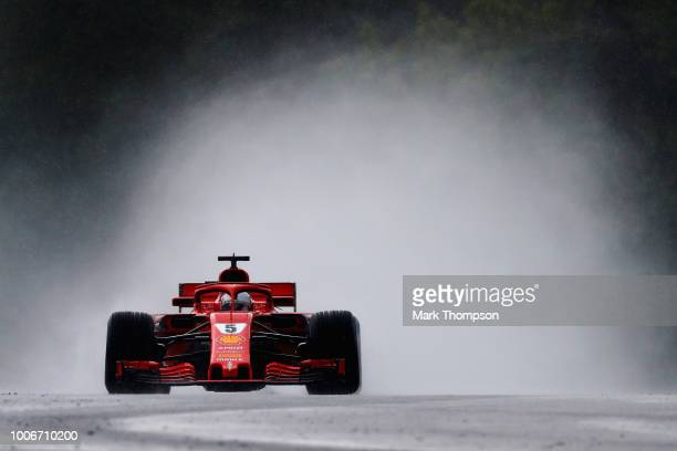 Sebastian Vettel of Germany driving the Scuderia Ferrari SF71H on track during qualifying for the Formula One Grand Prix of Hungary at Hungaroring on...