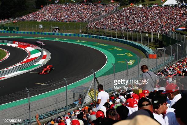 Sebastian Vettel of Germany driving the Scuderia Ferrari SF71H on track during the Formula One Grand Prix of Hungary at Hungaroring on July 29 2018...