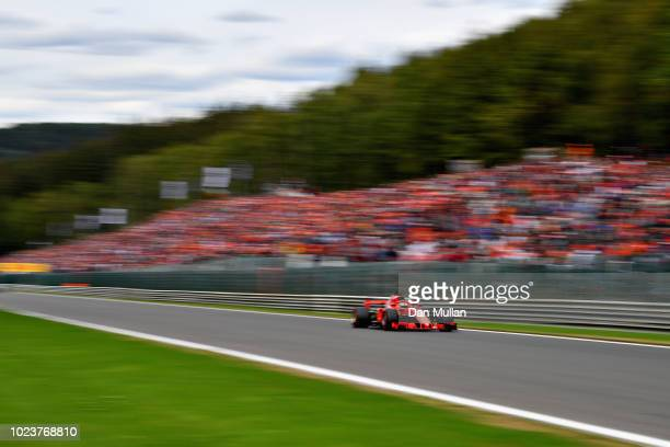 Sebastian Vettel of Germany driving the Scuderia Ferrari SF71H on track during the Formula One Grand Prix of Belgium at Circuit de Spa-Francorchamps...
