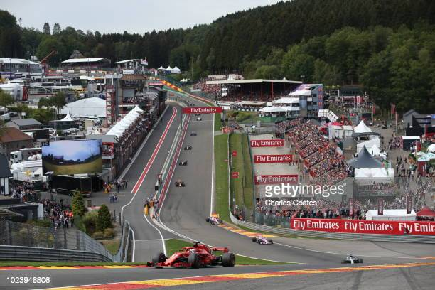 Sebastian Vettel of Germany driving the Scuderia Ferrari SF71H on track during the Formula One Grand Prix of Belgium at Circuit de Spa-Francorchamps...