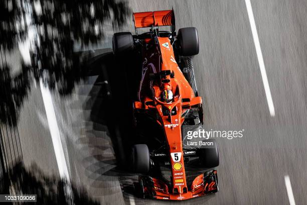 Sebastian Vettel of Germany driving the Scuderia Ferrari SF71H on track during practice for the Formula One Grand Prix of Singapore at Marina Bay...