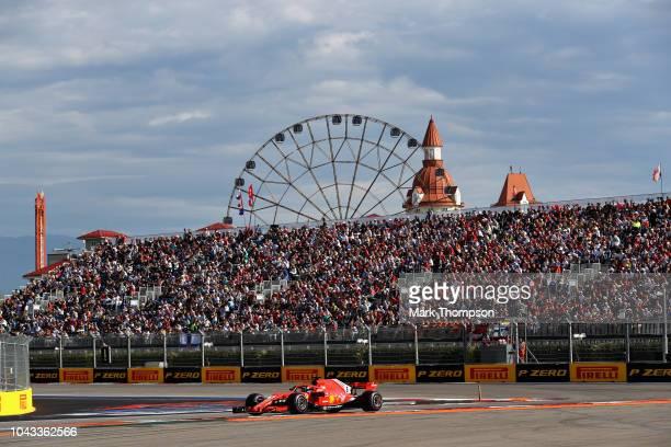 Sebastian Vettel of Germany driving the Scuderia Ferrari SF71H on track during the Formula One Grand Prix of Russia at Sochi Autodrom on September...