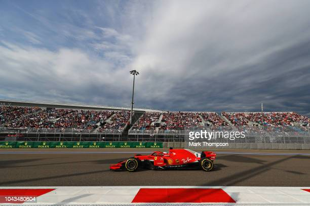 Sebastian Vettel of Germany driving the Scuderia Ferrari SF71H on track during the Formula One Grand Prix of Russia at Sochi Autodrom on September 30...