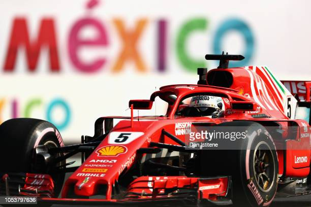 Sebastian Vettel of Germany driving the Scuderia Ferrari SF71H on track during practice for the Formula One Grand Prix of Mexico at Autodromo...