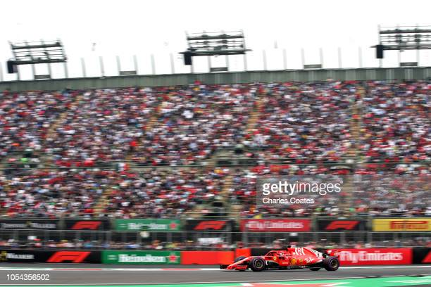 Sebastian Vettel of Germany driving the Scuderia Ferrari SF71H on track during qualifying for the Formula One Grand Prix of Mexico at Autodromo...