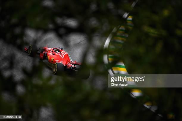 Sebastian Vettel of Germany driving the Scuderia Ferrari SF71H on track during practice for the Formula One Grand Prix of Brazil at Autodromo Jose...