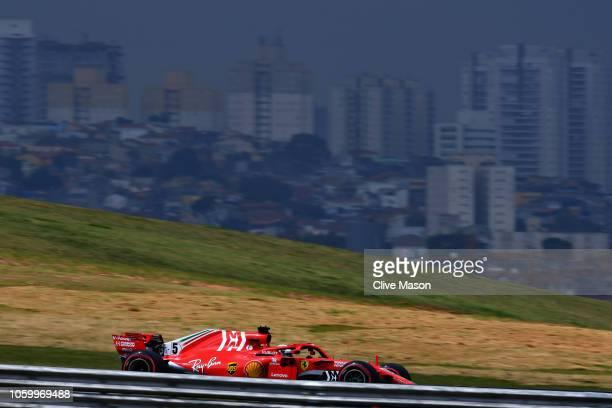 Sebastian Vettel of Germany driving the Scuderia Ferrari SF71H on track during qualifying for the Formula One Grand Prix of Brazil at Autodromo Jose...