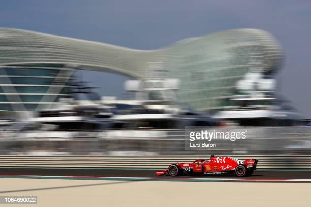 Sebastian Vettel of Germany driving the Scuderia Ferrari SF71H on track during final practice for the Abu Dhabi Formula One Grand Prix at Yas Marina...