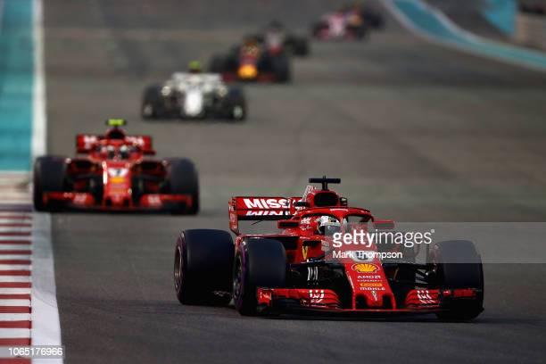Sebastian Vettel of Germany driving the Scuderia Ferrari SF71H on track during the Abu Dhabi Formula One Grand Prix at Yas Marina Circuit on November...