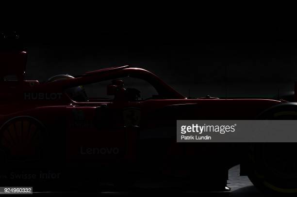 Sebastian Vettel of Germany driving the Scuderia Ferrari SF71H on track during day two of F1 Winter Testing at Circuit de Catalunya on February 27,...