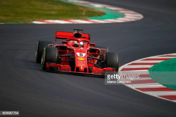 CATALUNYA MONTMELò BARCELONA SPAIN Sebastian Vettel of Germany driving the Scuderia Ferrari SF71H on track during day two of F1 Winter Testing