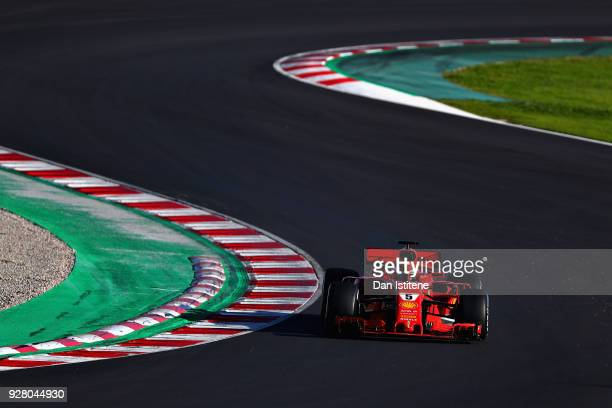 Sebastian Vettel of Germany driving the Scuderia Ferrari SF71H on track during day one of F1 Winter Testing at Circuit de Catalunya on March 6 2018...