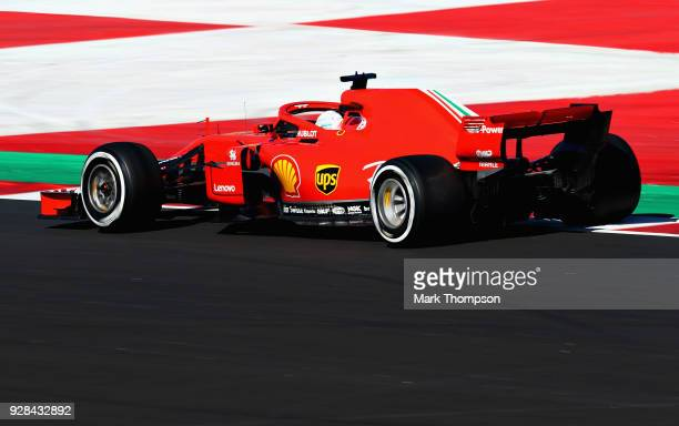Sebastian Vettel of Germany driving the Scuderia Ferrari SF71H on track during day two of F1 Winter Testing at Circuit de Catalunya on March 7, 2018...