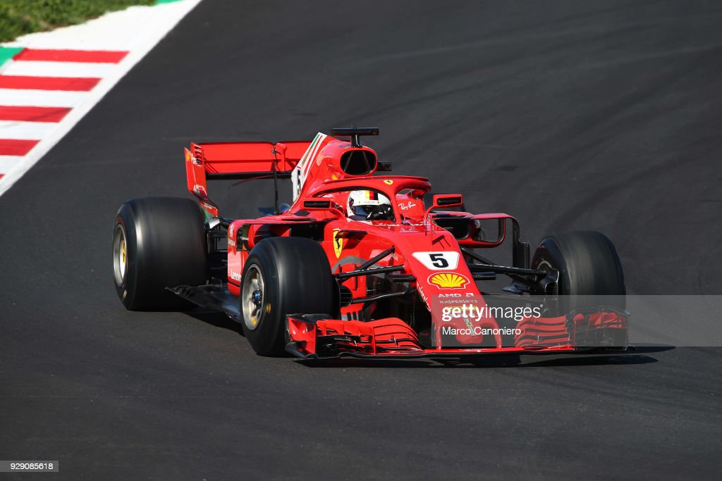 Catalunya Montmelo Barcelona Spain Sebastian Vettel Of Germany Driving The