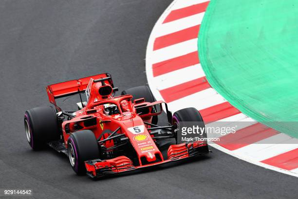 Sebastian Vettel of Germany driving the Scuderia Ferrari SF71H on track during day three of F1 Winter Testing at Circuit de Catalunya on March 8 2018...