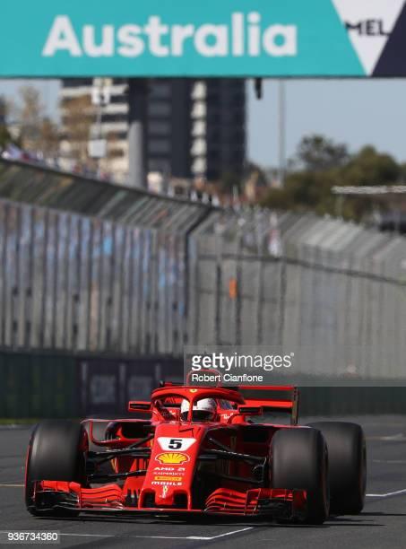 Sebastian Vettel of Germany driving the Scuderia Ferrari SF71H on track during practice for the Australian Formula One Grand Prix at Albert Park on...