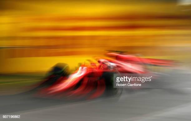 Sebastian Vettel of Germany driving the Scuderia Ferrari SF71H on track during final practice for the Australian Formula One Grand Prix at Albert...
