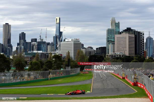 Sebastian Vettel of Germany driving the Scuderia Ferrari SF71H on track during qualifying for the Australian Formula One Grand Prix at Albert Park on...