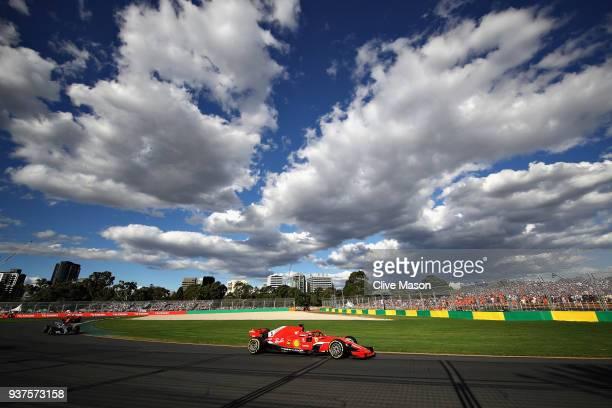 Sebastian Vettel of Germany driving the Scuderia Ferrari SF71H on track during the Australian Formula One Grand Prix at Albert Park on March 25 2018...