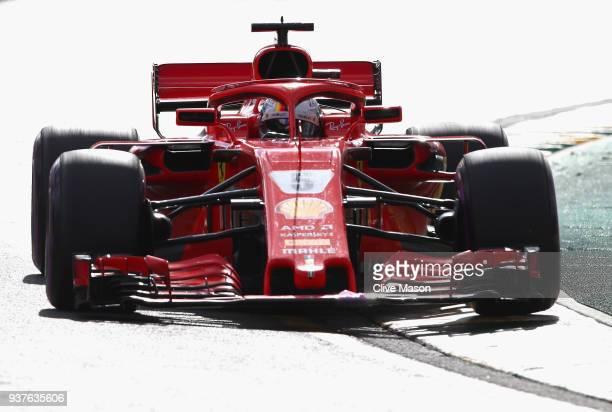 Sebastian Vettel of Germany driving the Scuderia Ferrari SF71H on track during the Australian Formula One Grand Prix at Albert Park on March 25, 2018...