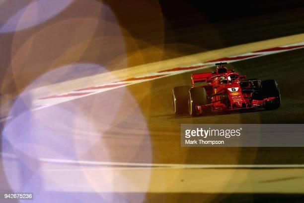 Sebastian Vettel of Germany driving the Scuderia Ferrari SF71H on track during practice for the Bahrain Formula One Grand Prix at Bahrain...