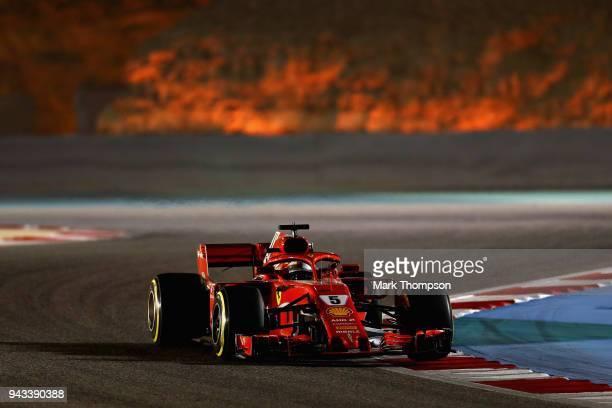 Sebastian Vettel of Germany driving the Scuderia Ferrari SF71H on track during the Bahrain Formula One Grand Prix at Bahrain International Circuit on...