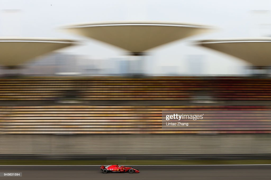 Sebastian Vettel of Germany driving the (5) Scuderia Ferrari SF71H on track during practice for the Formula One Grand Prix of China at Shanghai International Circuit on April 13, 2018 in Shanghai, China.