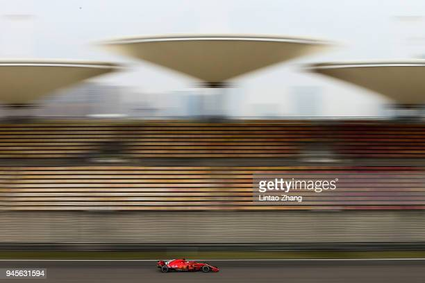 Sebastian Vettel of Germany driving the Scuderia Ferrari SF71H on track during practice for the Formula One Grand Prix of China at Shanghai...