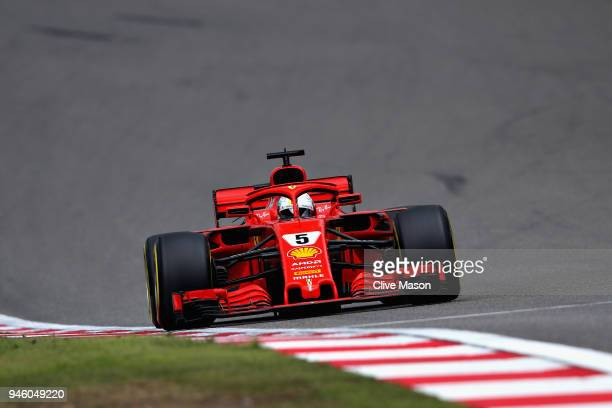 Sebastian Vettel of Germany driving the Scuderia Ferrari SF71H on track during qualifying for the Formula One Grand Prix of China at Shanghai...
