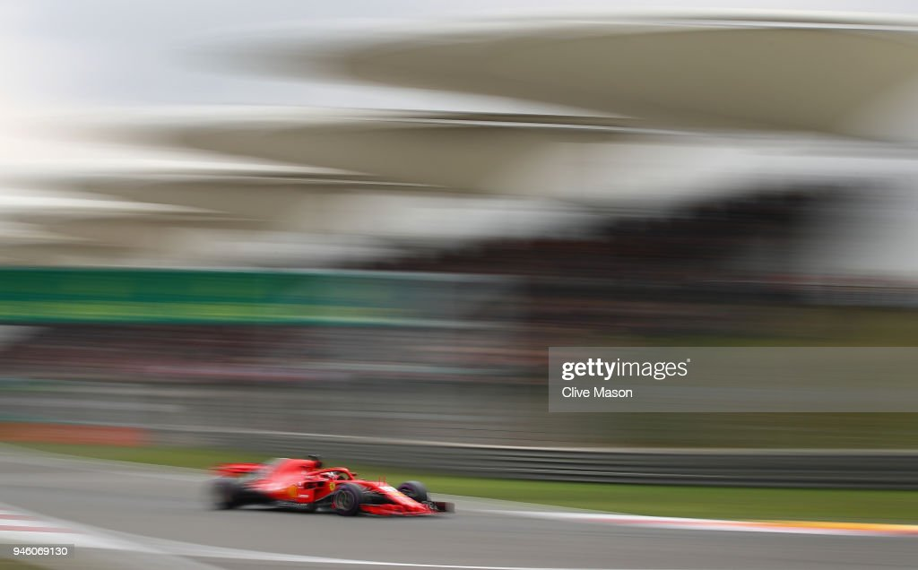 Sebastian Vettel of Germany driving the (5) Scuderia Ferrari SF71H on track during qualifying for the Formula One Grand Prix of China at Shanghai International Circuit on April 14, 2018 in Shanghai, China.